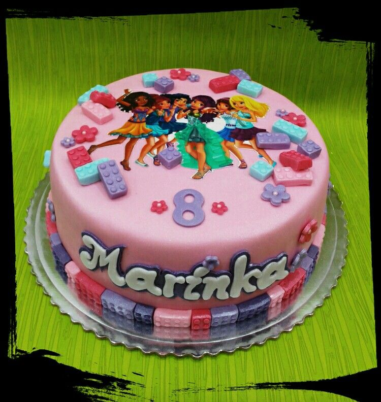Outstanding Lego Friends Lego Friends Cake Lego Friends Birthday Friends Personalised Birthday Cards Paralily Jamesorg
