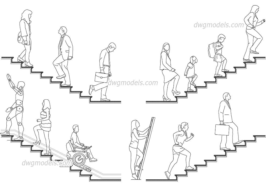1080x760 People on the stairs CAD blocks, AutoCAD file