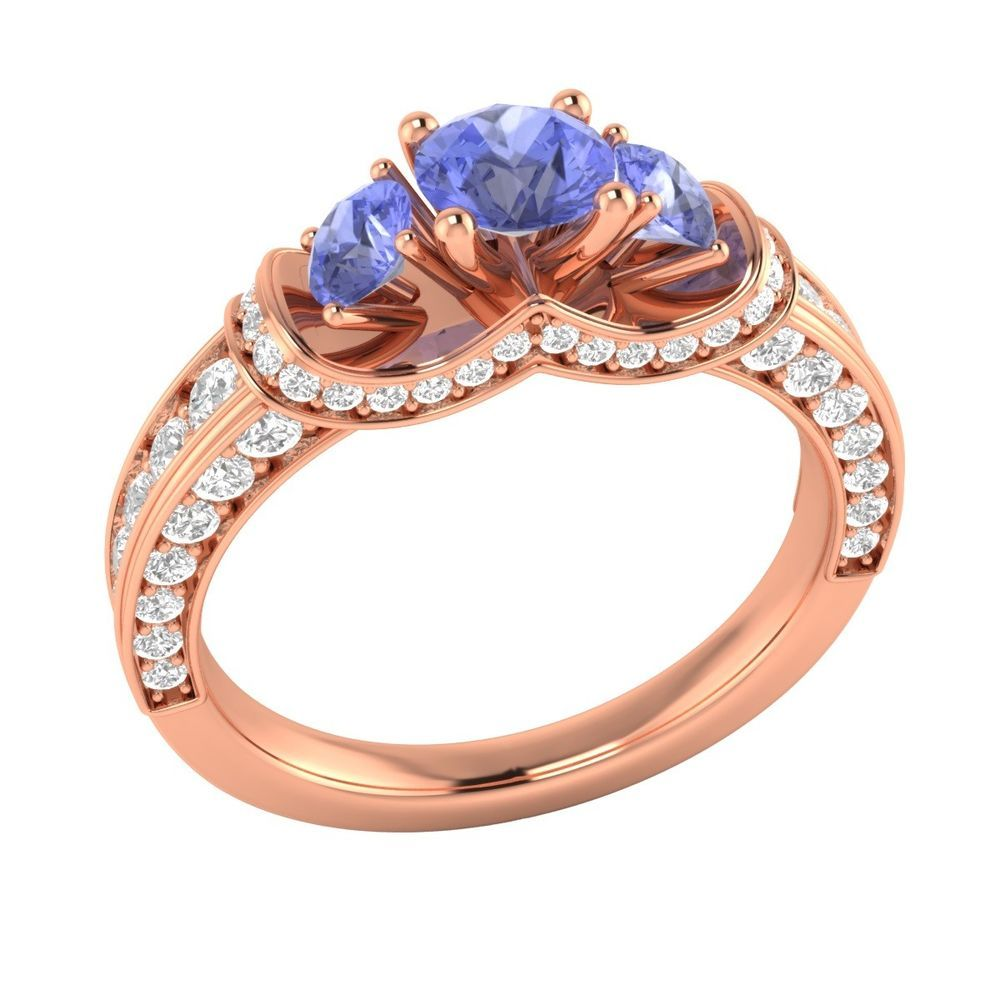 rose samuels jewelers ring round tanzanite real gold diamond ctw