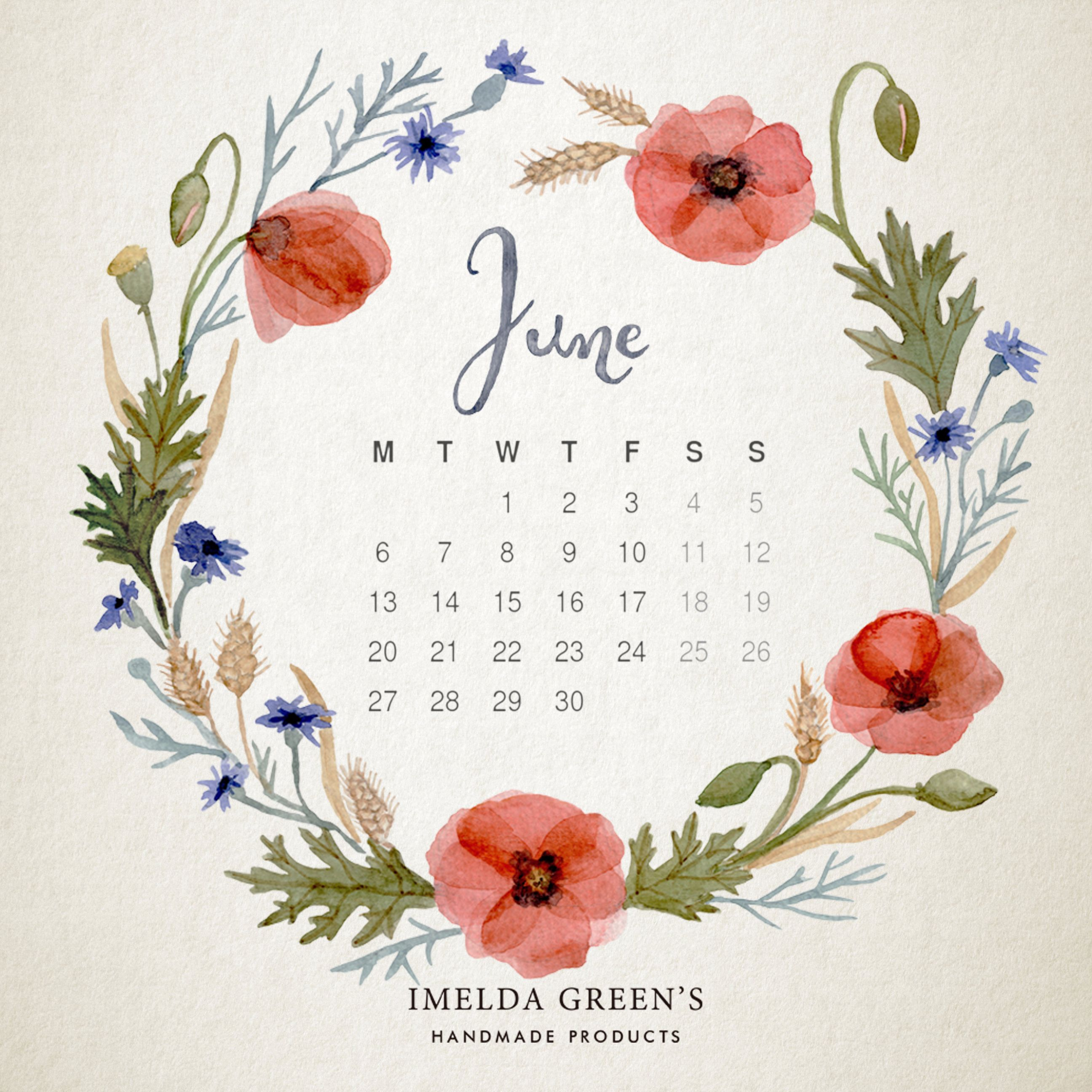 Hello June Calendar Illustration Flower Drawing Painted Floral Wreath