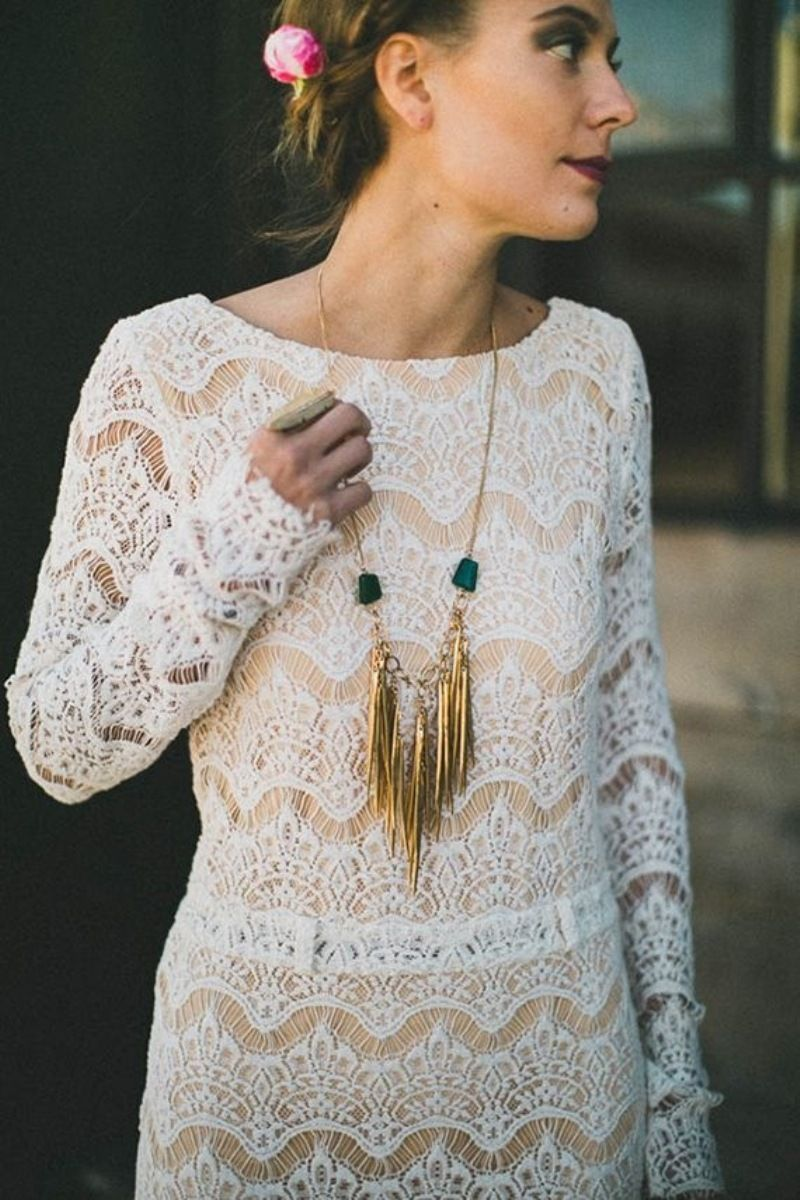 Diy gold spike and turquoise bead long chain necklace