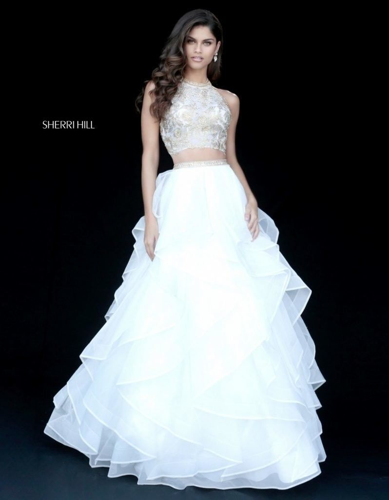 Gorgeous long ruffled white two piece prom dress dresses in