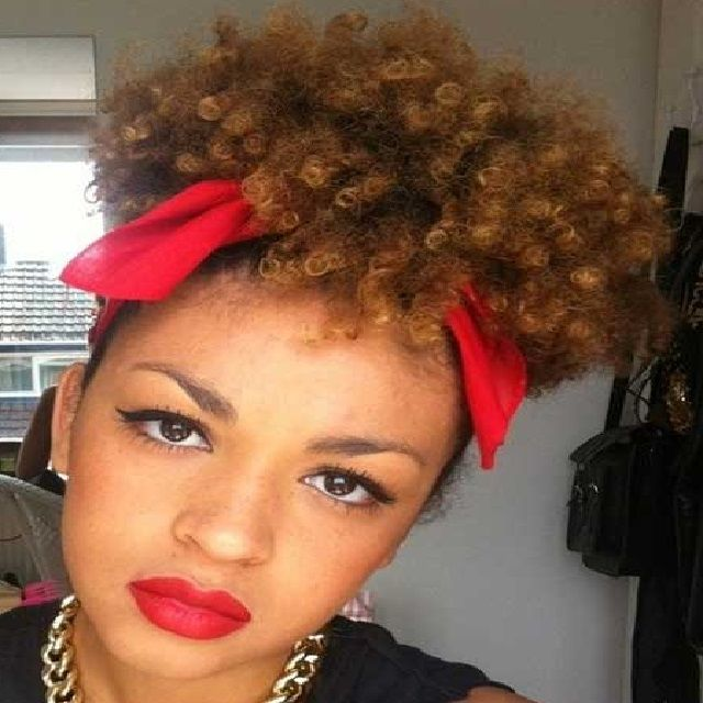Pictures Of Black Women Short Hairstyles Tied Up With A Bow Curly