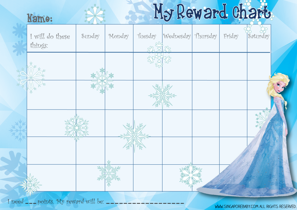 Picture Of The Free Frozen Reward Chart Elsa Http