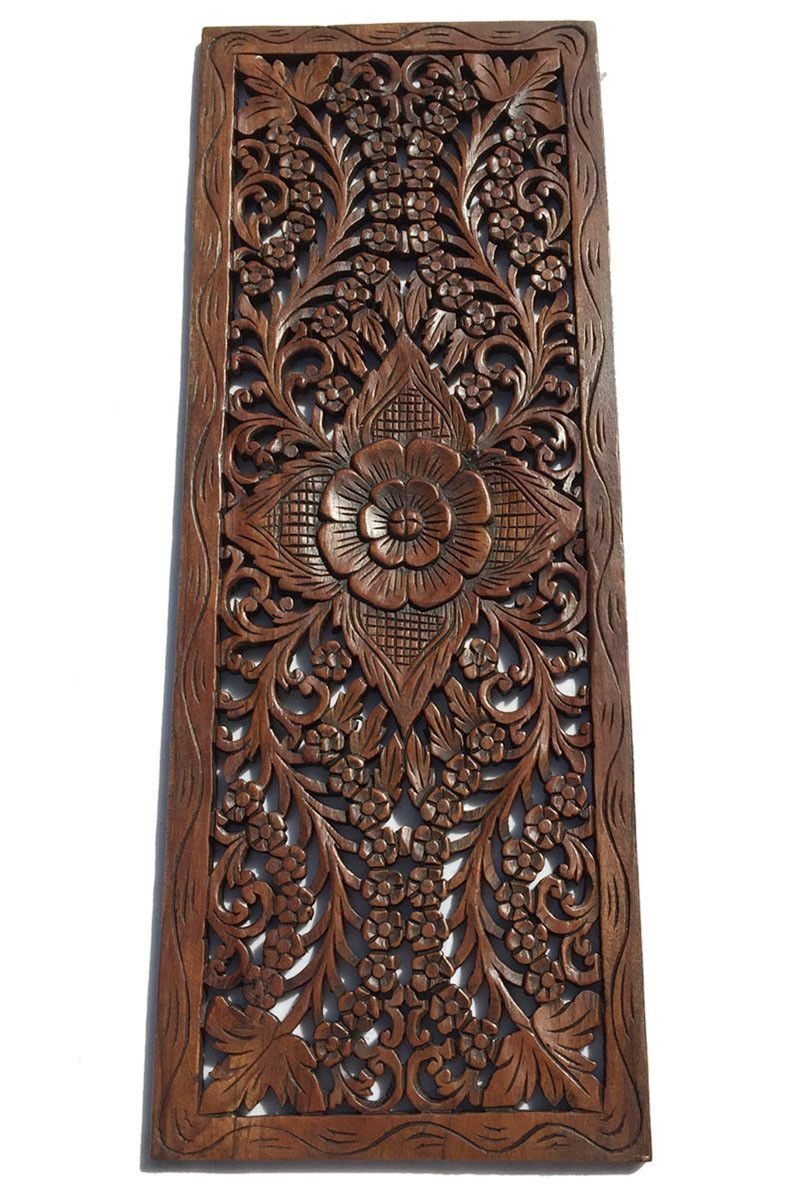 Floral Wood Carved Wall Panel. Wall Hanging. Decorative