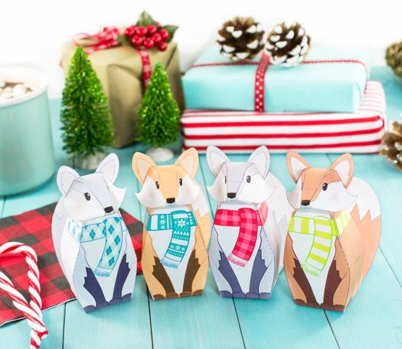 printable winter fox gift boxes diy christmas party favor