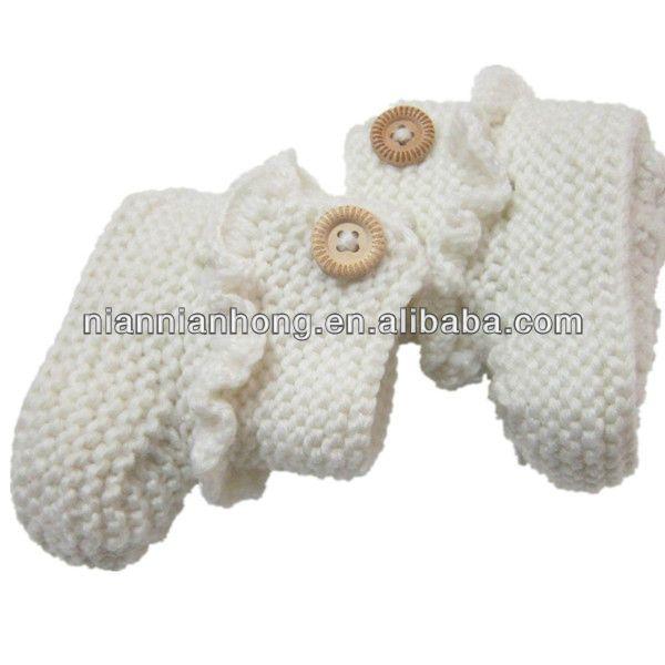 la moda del bebé white crochet botines de tejer zapatos de los ...