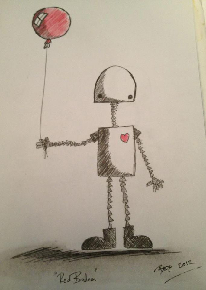 Red Balloon Simple Ink Pencil Sketch Of A Robot His Red Balloon