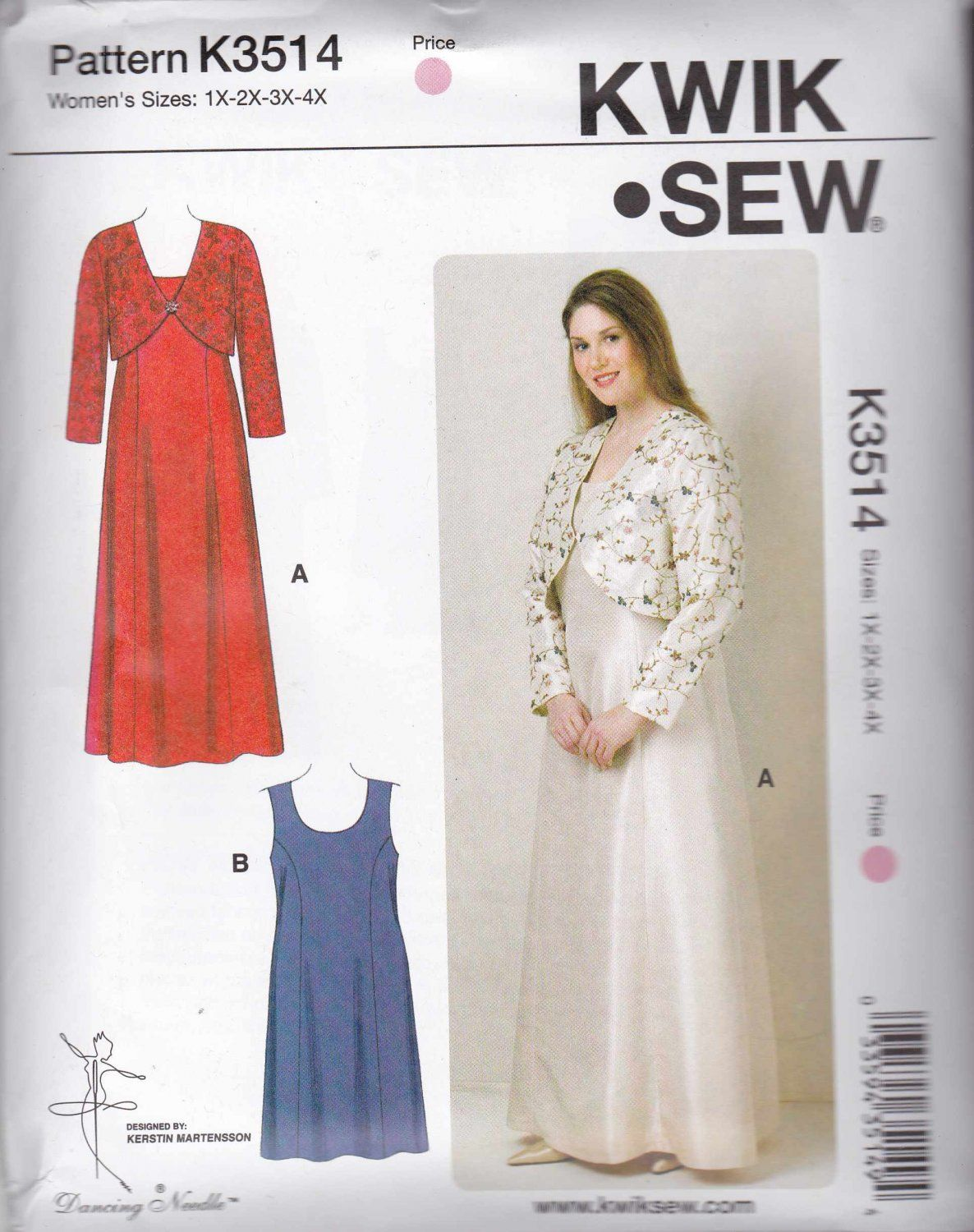 Kwik Sew Sewing Pattern 3514 Women\'s Plus Sizes 1X-4X Dresses Bolero ...