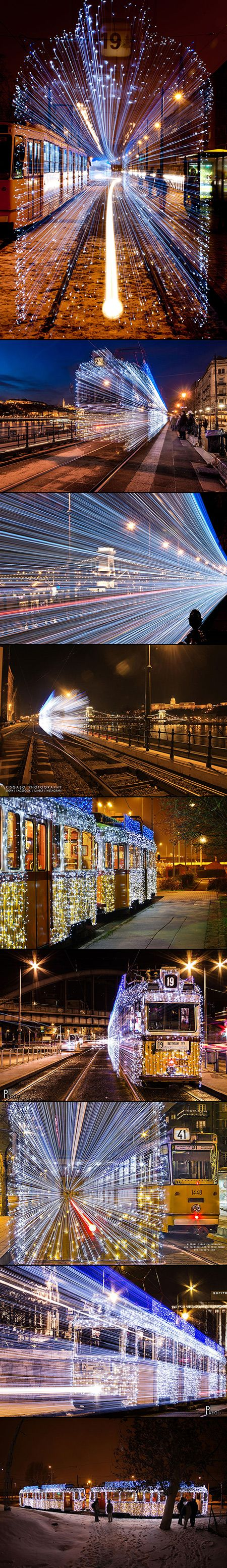 Most major cities magically light up during the holiday season, and the Hungarian capital of Budapest is no different. Every winter, this city is covered in festive holiday decorations, but one of the most interesting of these are the city's trams, which are covered in 30,000 bright blinking LED lights.