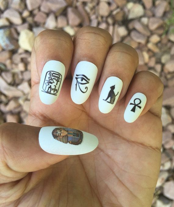Egyptian Lover Nail Decals/ Nail Wraps/ Nail Art/ Ankh/ Eye of Horus ...