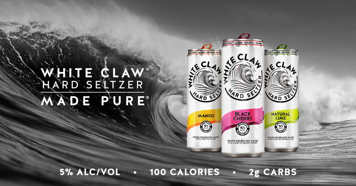 Enjoy A Wave Of Pure Refreshment Spiked Sparkling Water With A Hint Of Fruit Flavors 100 Calories 5 Alco White Claw Hard Seltzer Pure Products Mango Flavor