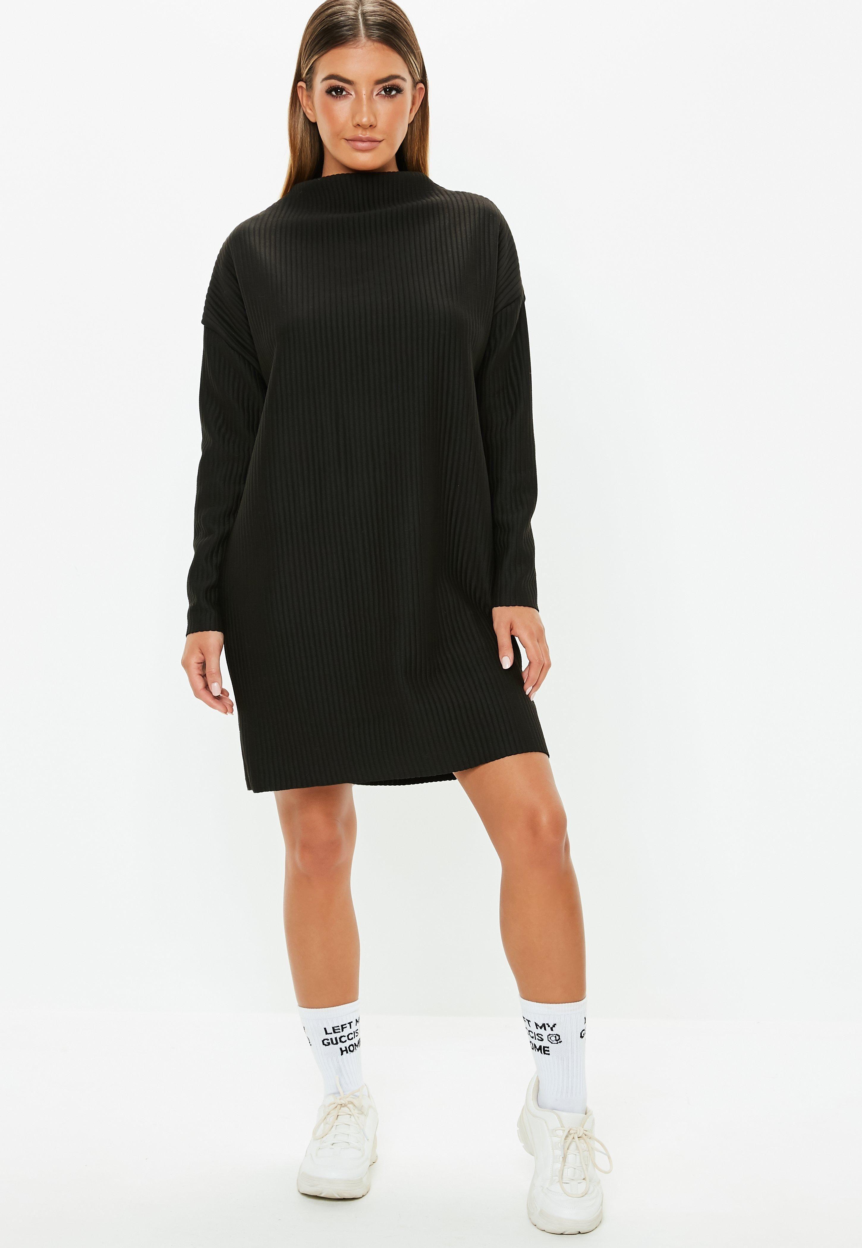 8b0cd35b474 Petite Black Oversized Ribbed Sweater Dress  Sponsored  Oversized