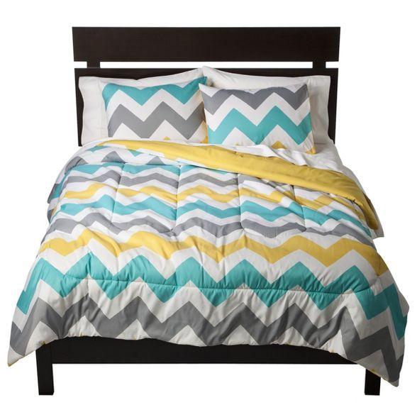 Chevron Comforter (Full/Queen) - Room Essentials™ : Target #graybedroomwithpopofcolor