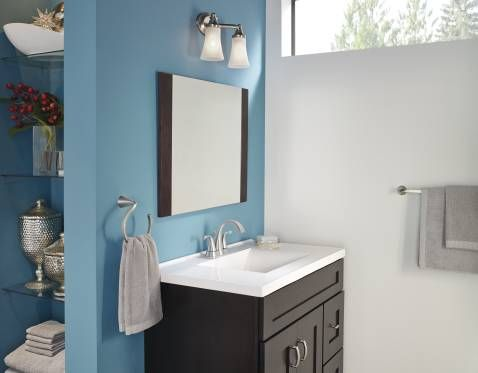 324--Oxby spot resist brushed nickel two-handle bathroom faucet ...