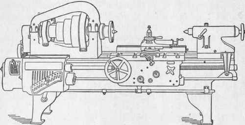 Line drawing, 24-inch Swing Engine Lathe built by the