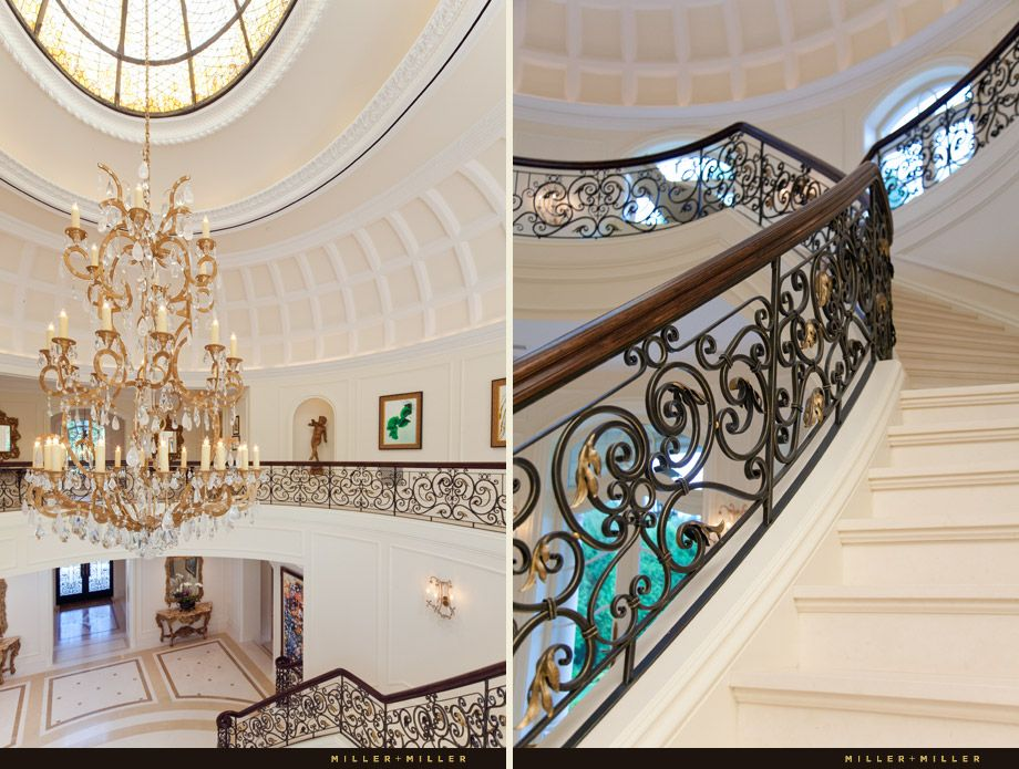 Mansion Foyer Chandelier : Mansion foyer and stairway with custom crafted ornate