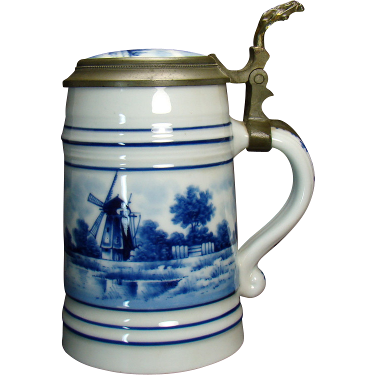 Hand Painted Blue Delft Porcelain Beer Stein with Lithophane - 1920's