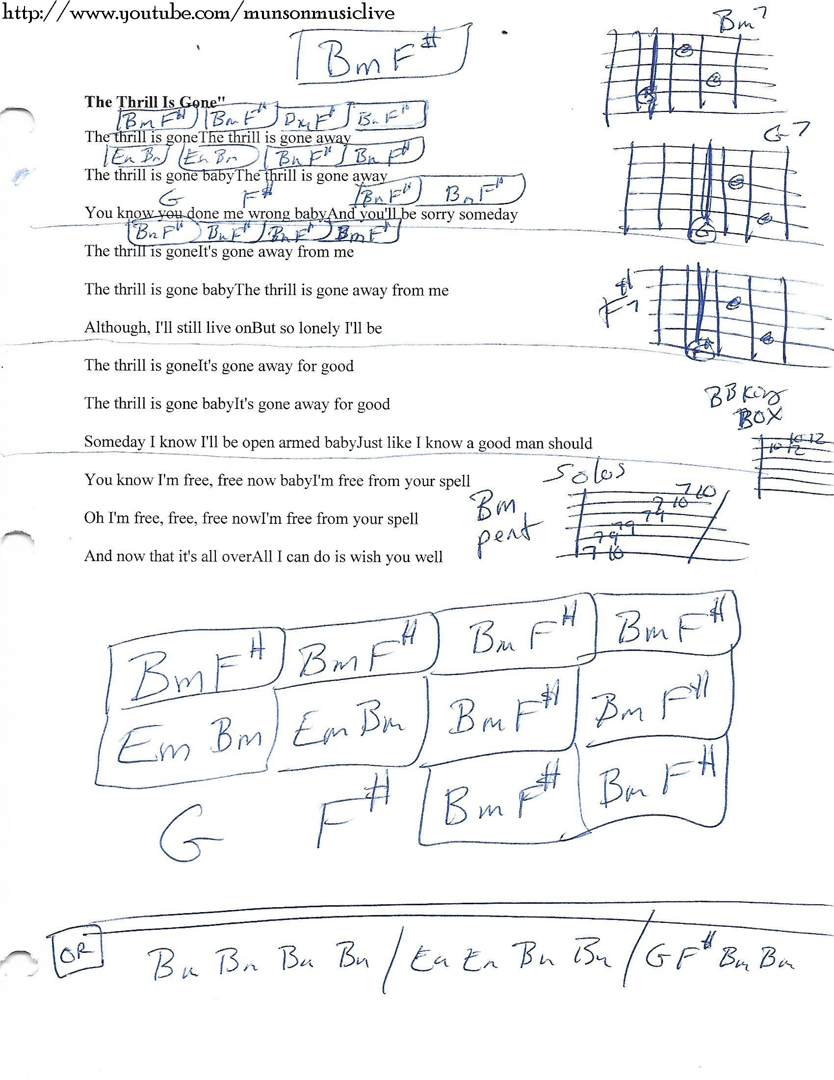 The Thrill Is Gone Bb King Guitar Chord Chart Guitar Pinterest