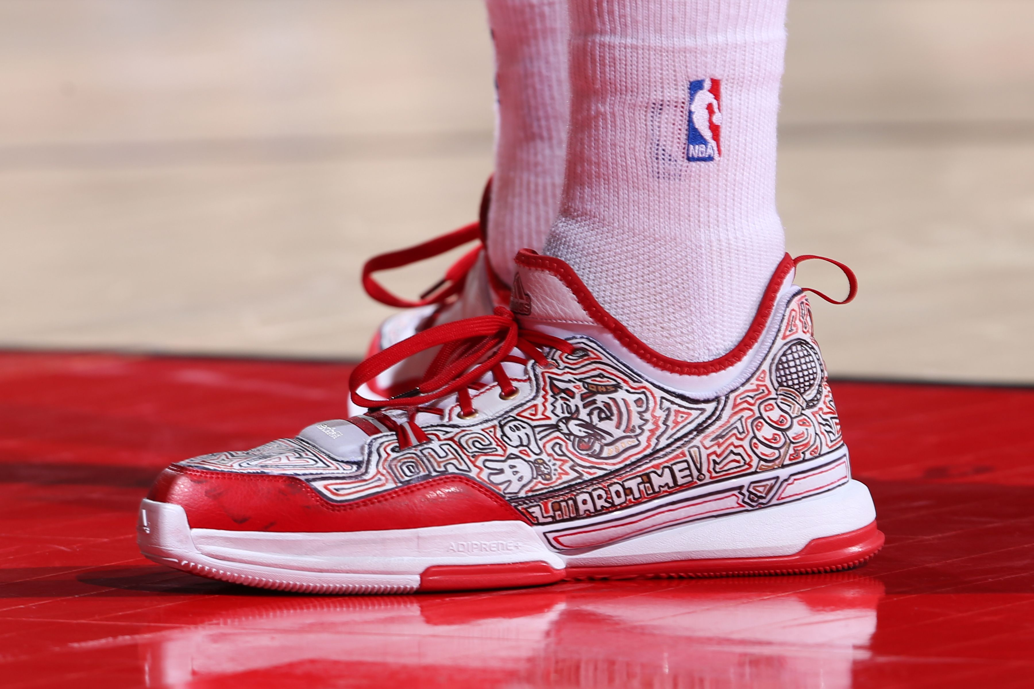 wholesale dealer 60215 cf6d7 Custom Adidas D. Lillard 1 worn by Damian Lillard in Game 4 of   BLAZERSvGRIZZLIES. He finished the game with 32 points 7 assists and a   Blazers Victory!