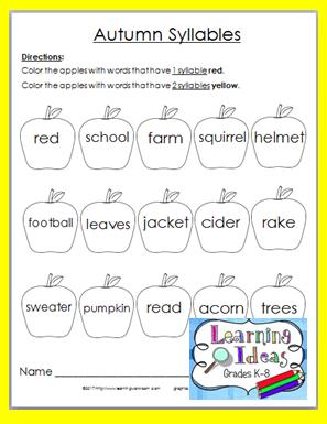 Free Autumn Syllables Worksheet Nouns, verbs, Nouns