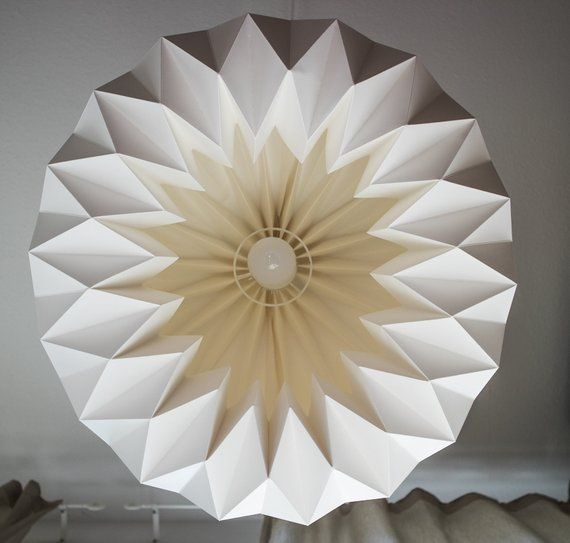 Photo of DEN HAAG Paper lampshade | Big white Origami lamp | Minimalistic pendant | Hand-folded unique rarity for your living room