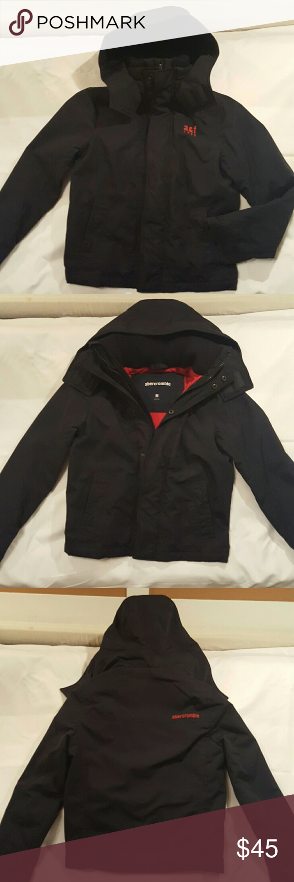 494f688d302e Boys abercrombie all-weather winter coat Navy blue with red fleece ...