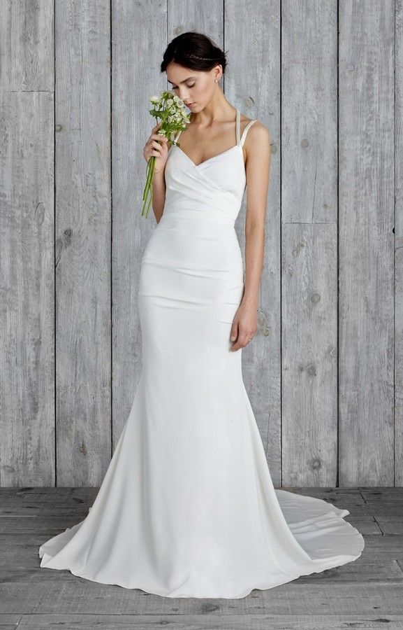 Nicole Miller Taylor Bridal Gown Form Fitting Wedding Dress Strappy Wedding Dress Fitted Wedding Dress