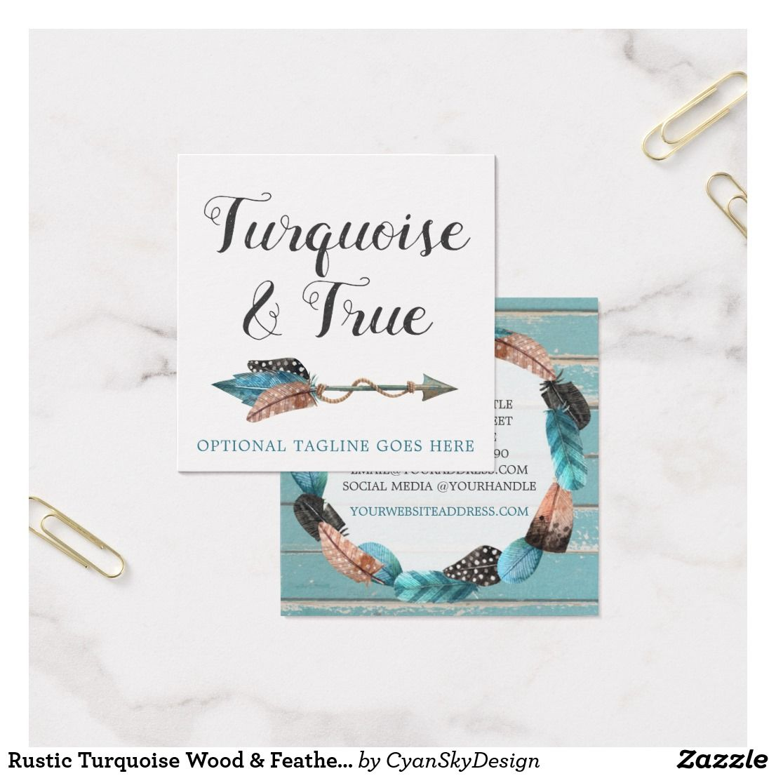 Rustic turquoise wood feather arrow boho chic square business card rustic turquoise wood feather arrow boho chic square business card reheart Image collections