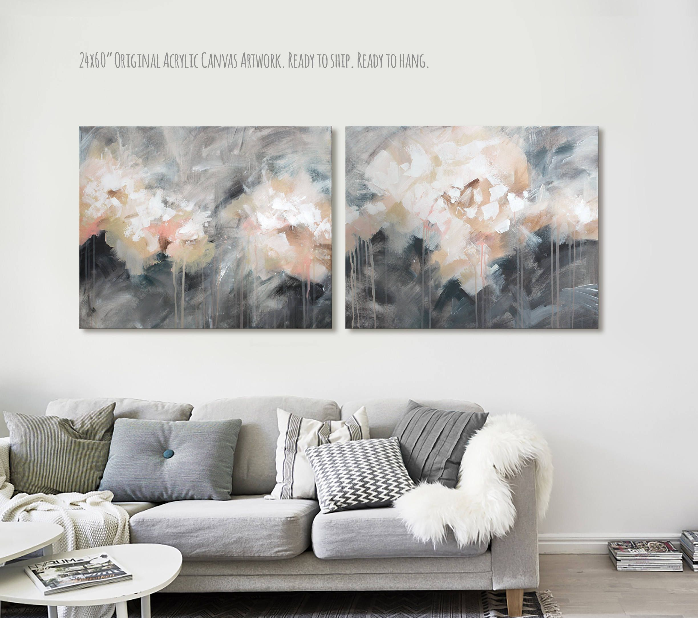 24x60 Large Gray Abstract Original Painting Large White Abstract Wall Art Gray Large Contemporary Wall Art Canvas Wall Art Contemporary Extra Large Canvas Art