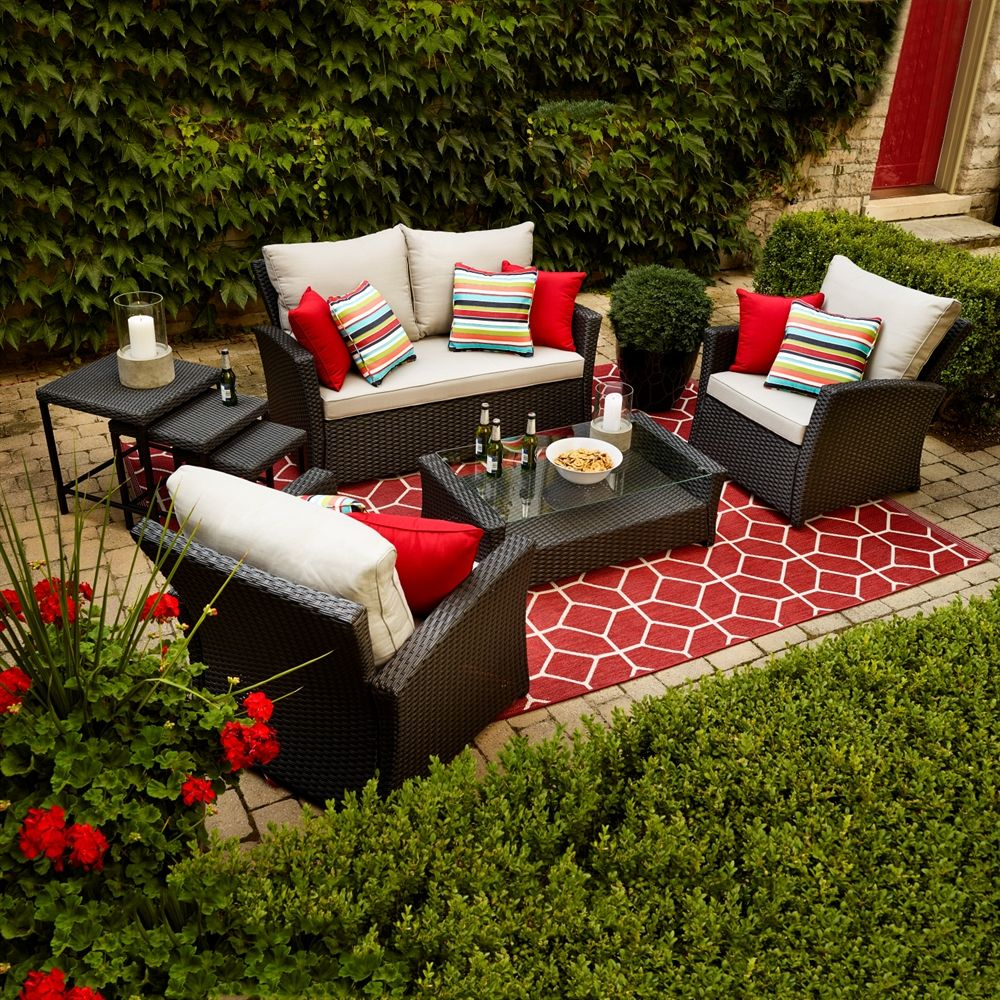 Shop Allen + Roth Piedmont 4-Piece Patio Conversation Set