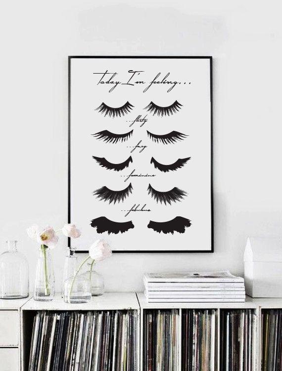 "Fashion Wall Decor minimalist poster ""eye lashes"", fashion print, wall decor, minimal"