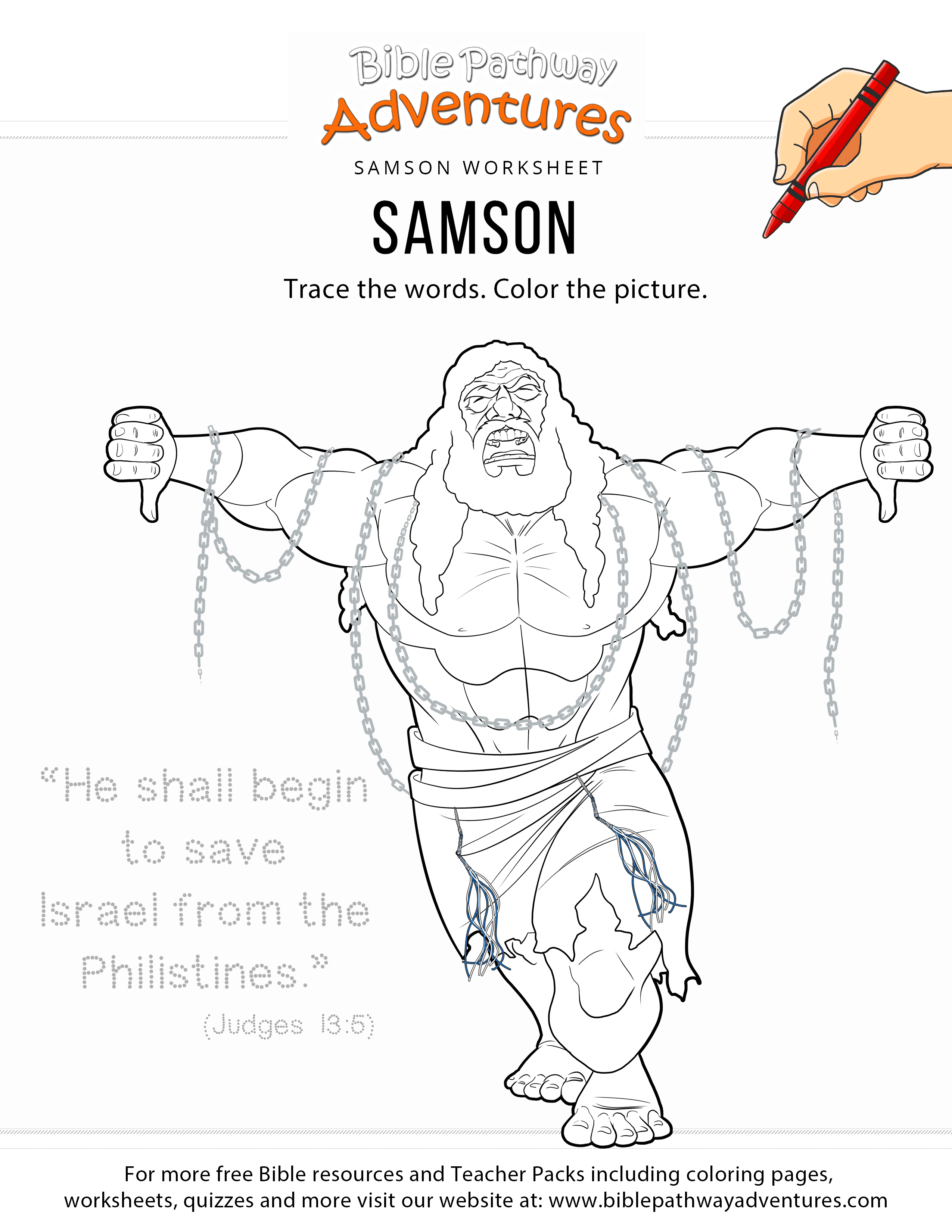 Samson Copywork And Coloring Page