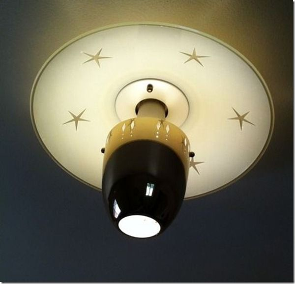 Vintage Mid Century Atomic Starburst Glass Ceiling Light