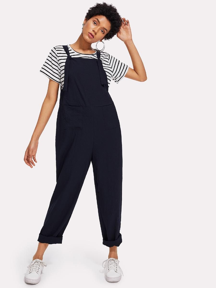 1d8432a57267 Tied Strap Pocket Front Pinafore Jumpsuit -SheIn(Sheinside ...