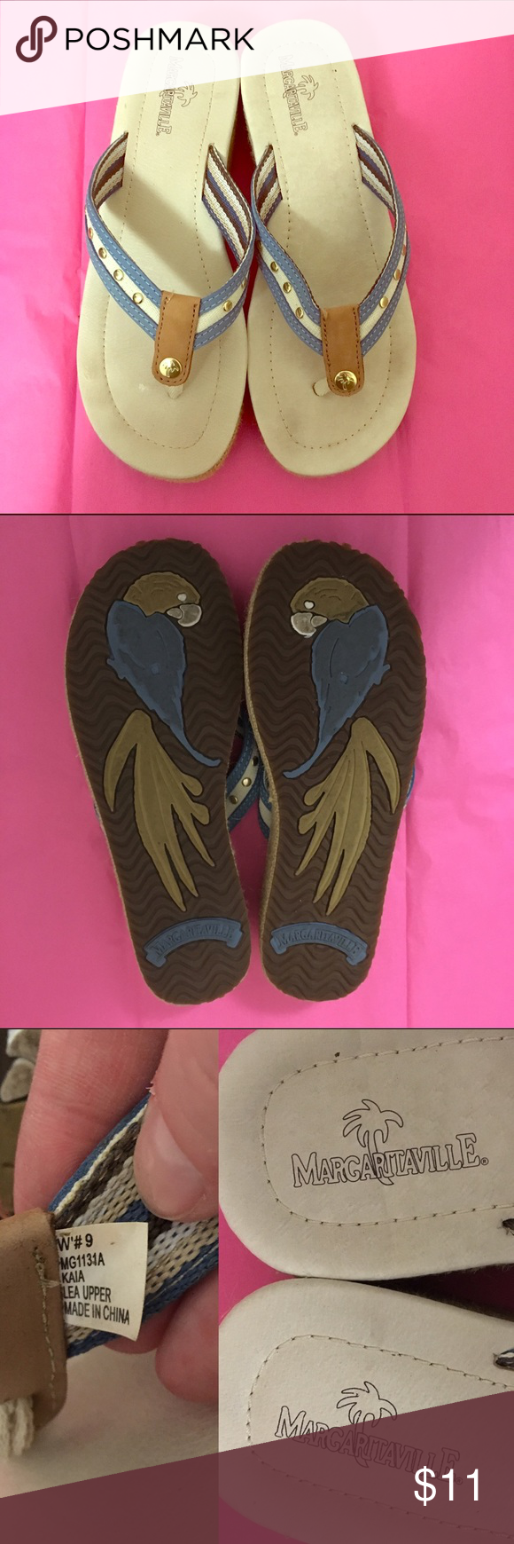 Euc 9 margaritaville flip flops Super cute! Margaritaville brand tan and blue flip flops with gold accents, Euc no flaws just some minor wear size 9 women's Margaritaville Shoes Sandals