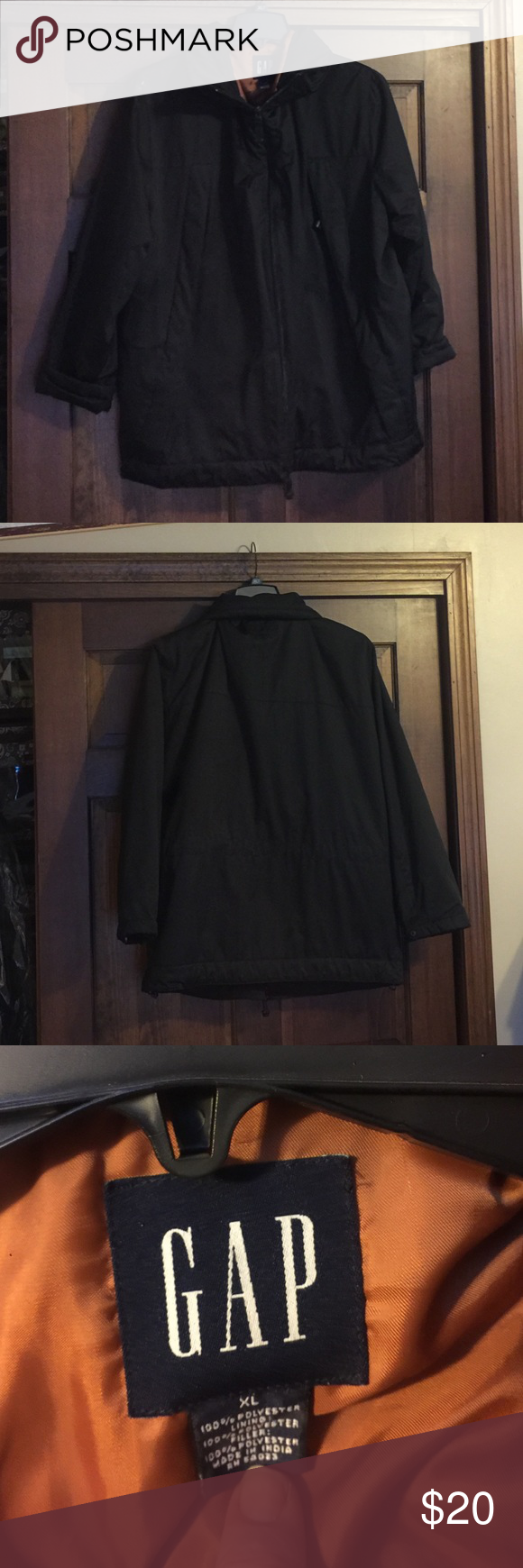 Mens Gap XL jacket Black men's jacket! Medium to winter weight, like new condition! Multiple pockets, cinch on the inside to keep snow/wind out, button closures on sleeves and drawstring bottom! Nice layering coat for skiing 🎿 Jackets & Coats Performance Jackets