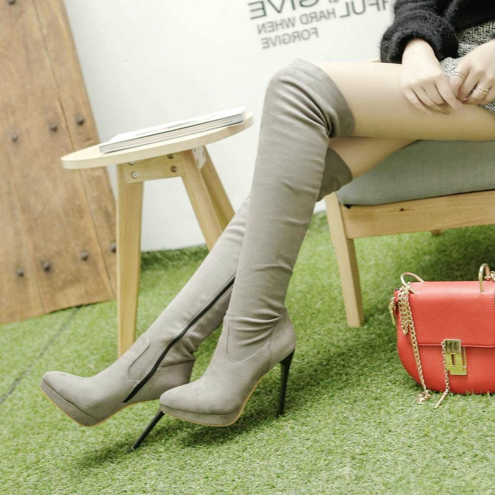 73aeb8b987a Female Flock Leather Over The Knee Boots Sexy Thin High Heel Elastic Boots  Platform Zipper Winter Fashion Women Shoes. Yesterday s price  US  67.91  (59.48 ...