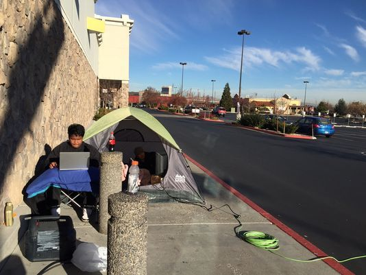 And They Re Off Black Friday Shoppers Camping In Reno Black Friday Shopping List Shopper Black Friday
