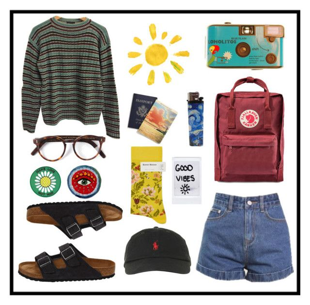 """""""Art Hoe Goes On a Trip"""" by pradamuse ❤ liked on Polyvore featuring Prada, Fjällräven, Birkenstock, Cutler and Gross, Bonne Maison and Polo Ralph Lauren"""