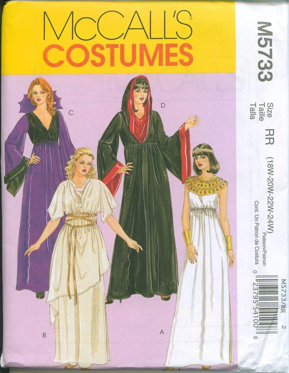 Sewing Pattern McCalls 5733 Gothic Goddess Witch Grecian Dress ...