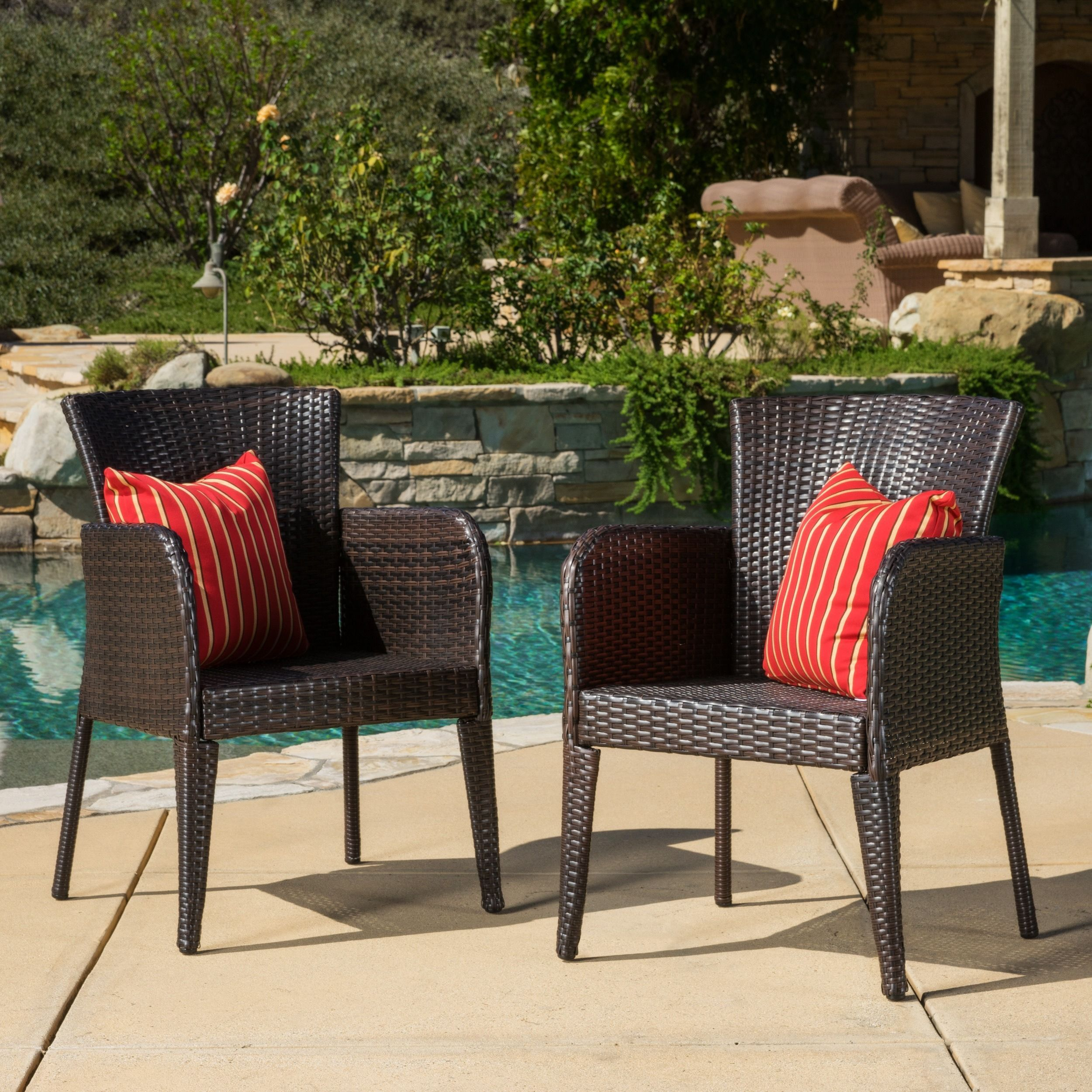 Anaya Outdoor Wicker Dining Chair Set of 2 by Christopher Knight