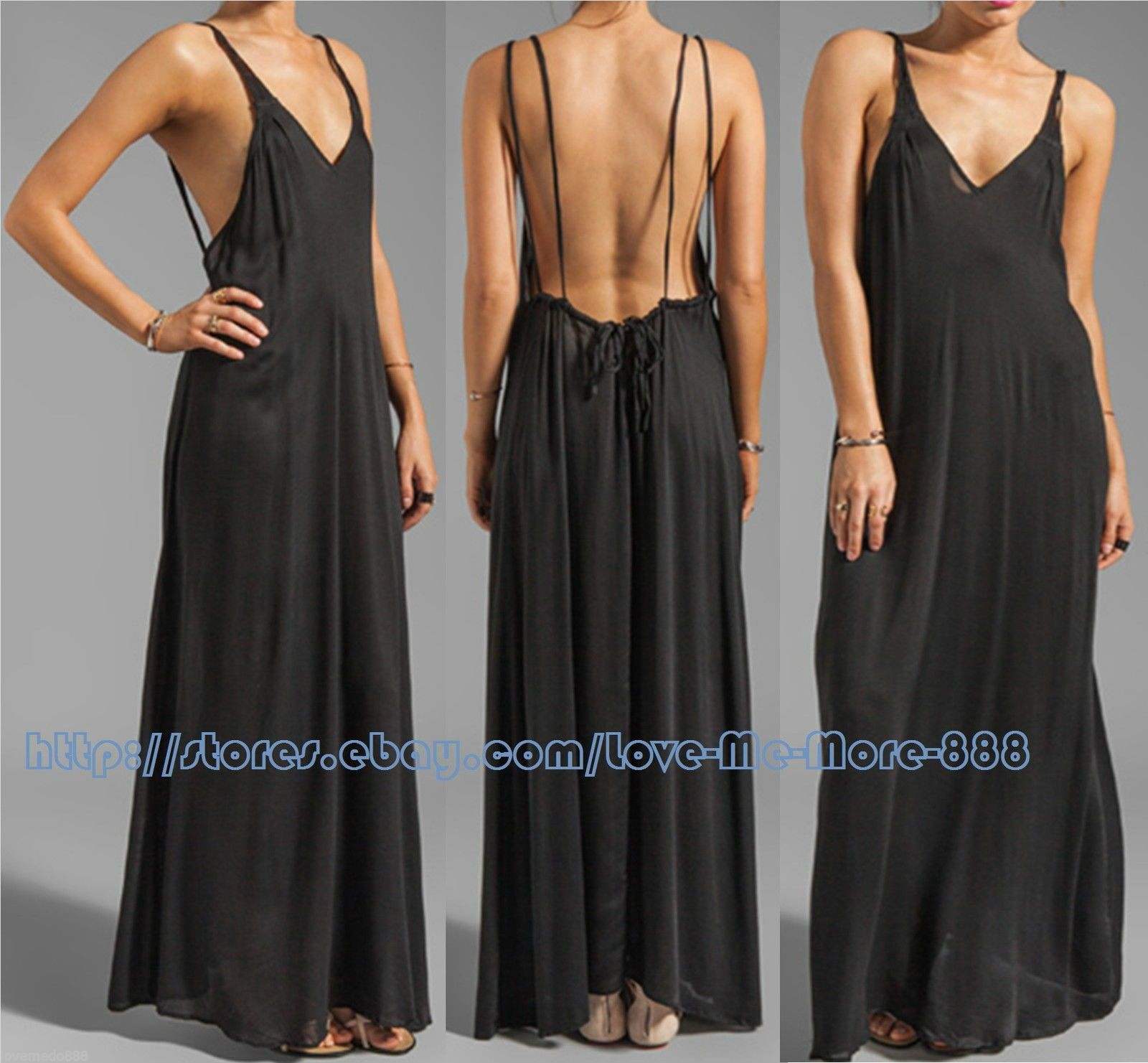Nice awesome womens spaghetti strap backless loose long maxi club