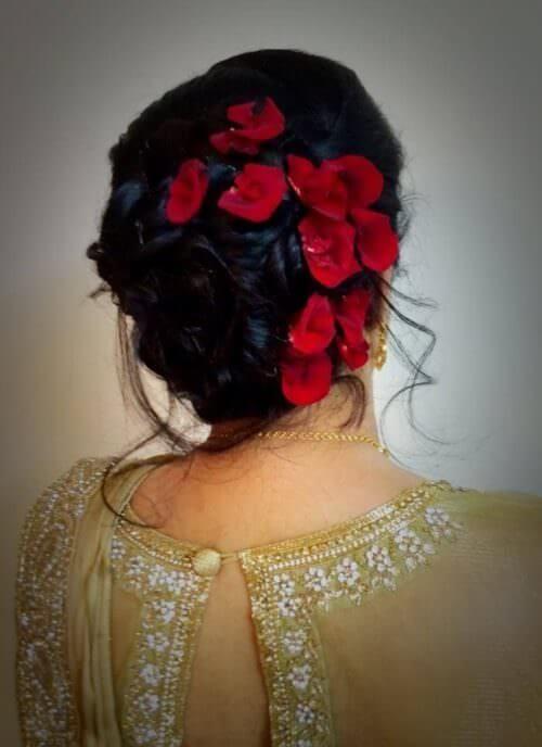 Flower Bun For Evening Wear Bridal Hairdo Hair Styles