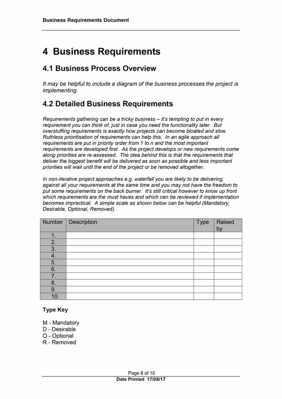 Simple Business Requirement Document Template 40 Simple Business Requirements Document Templates Business Requirements Document Template Business Template