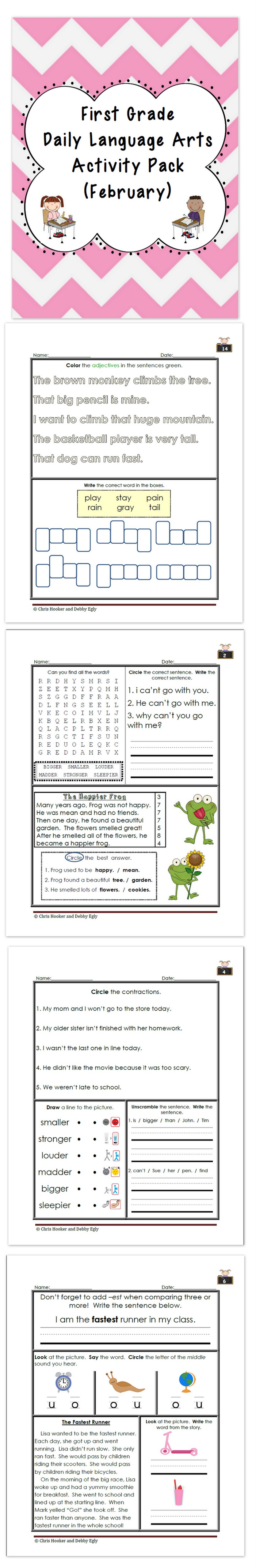 First Grade Vocabulary Worksheets [ 5120 x 835 Pixel ]