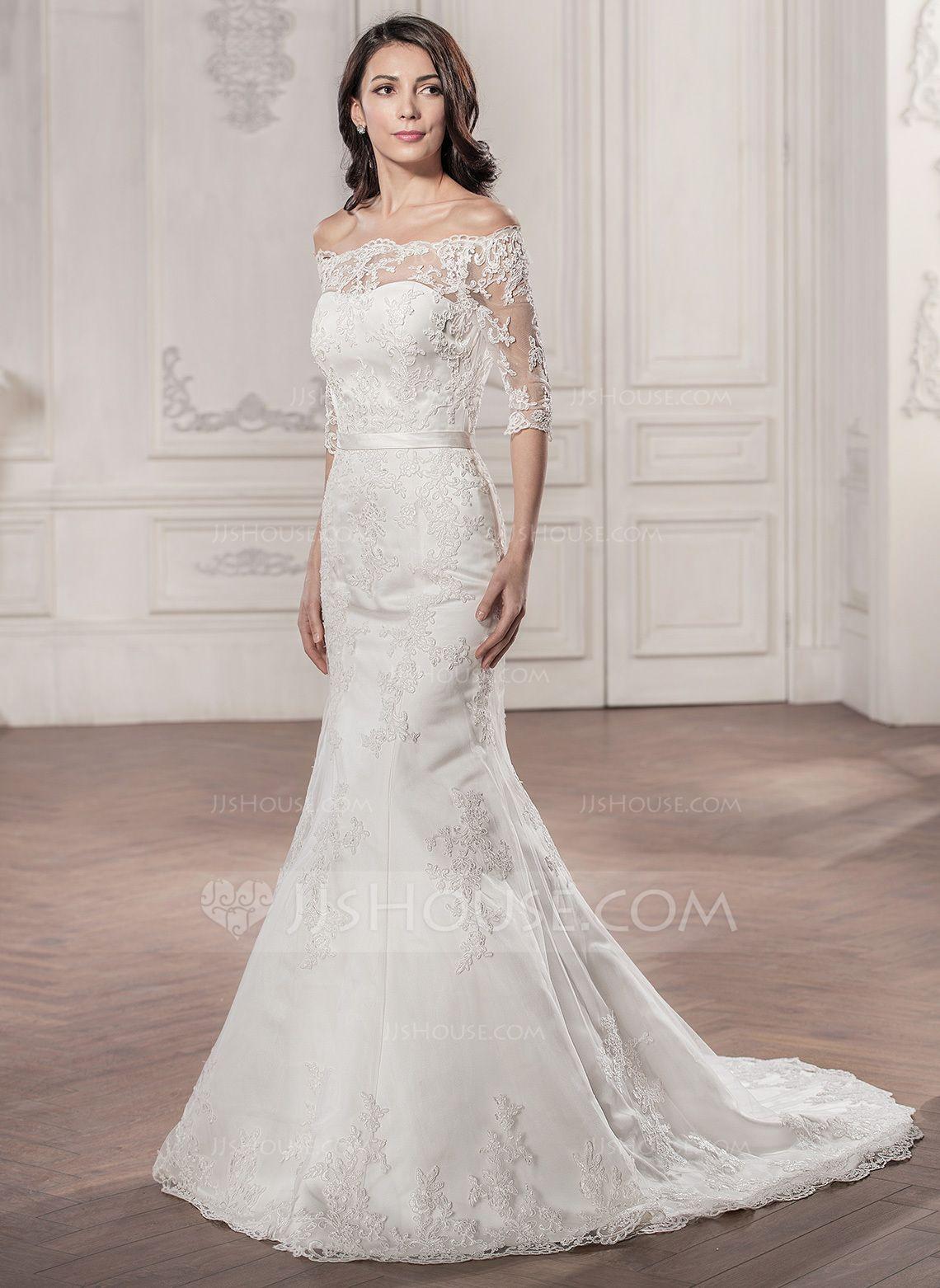 7cedecac Trumpet/Mermaid Off-the-Shoulder Court Train Satin Lace Wedding Dress  (002058786) - JJsHouse