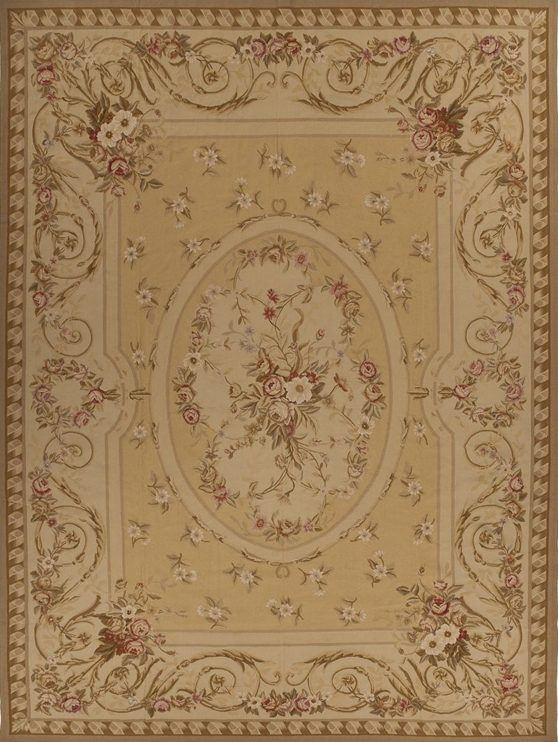 Chambery Aubusson Rugenrich A Room With Gold And Rose French Rug 5002g6