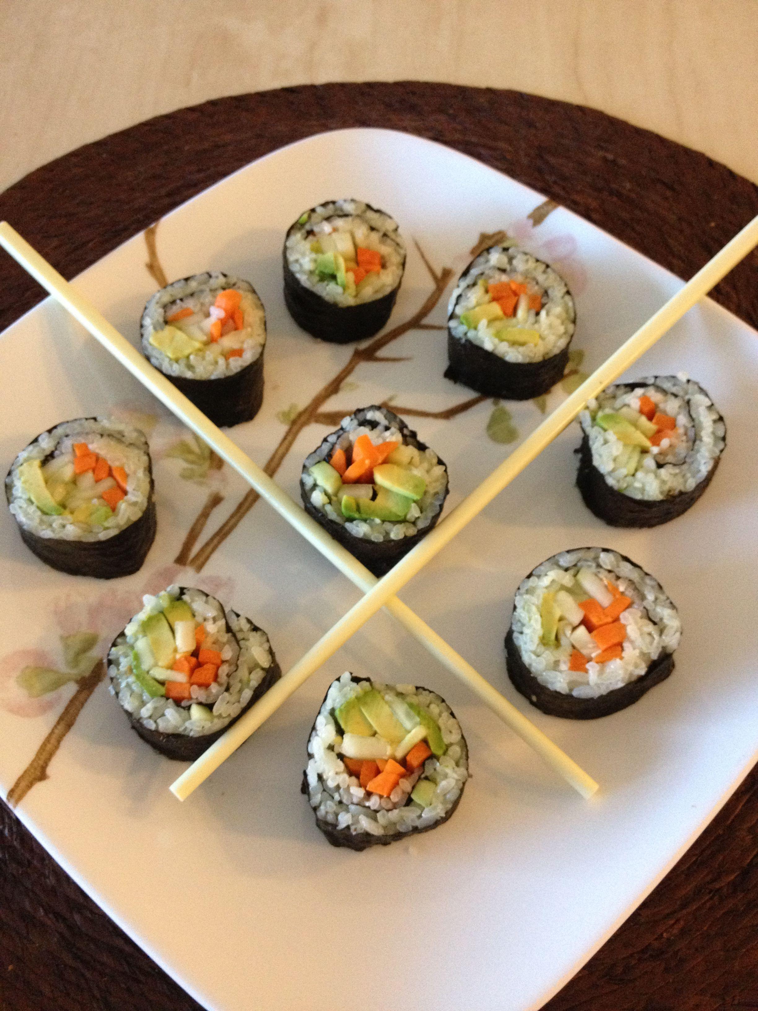 Homemade sushi.. veggie rolls made with all organic