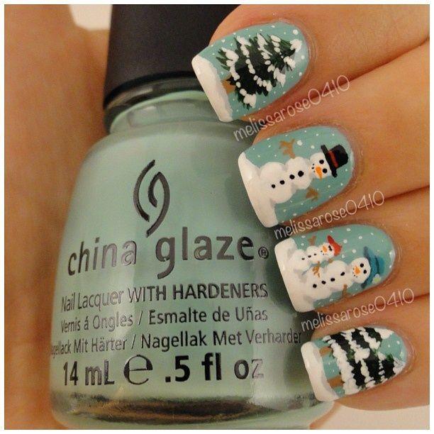 Snowmen Nails - Winter Christmas Nail Art #nails #nailart #trends ...